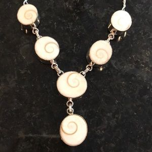 Sterling Silver 925 Swirl Stone Necklace